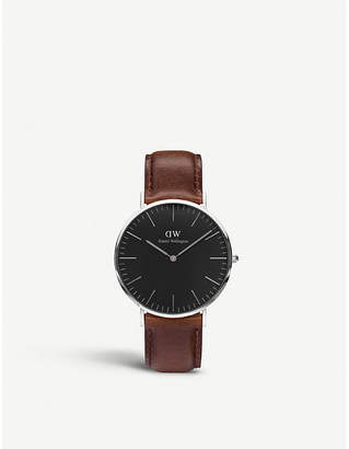 Daniel Wellington Classic Black St. Mawes leather and stainless steel watch