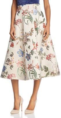 Alice + Olivia Fila Floral-Embroidered Midi Skirt $495 thestylecure.com