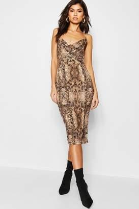 boohoo Satin Midi Cowl Front Dress