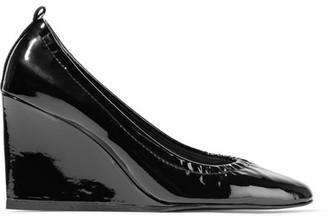 Lanvin - Patent-leather Wedge Pumps - Black $695 thestylecure.com