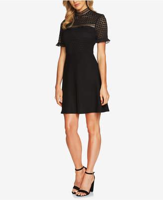 CeCe Lace Mock-Neck Fit & Flare Dress