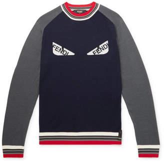 Fendi Bugs Logo-Appliquéd Wool Sweater