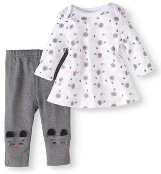 Bon Bebe Baby Girl Dress & Novelty Leggings, 2pc Outfit Set