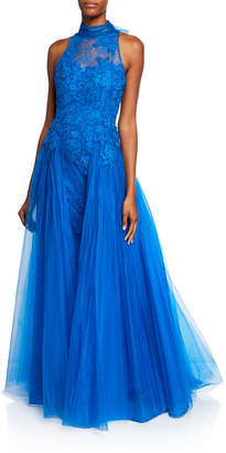 Badgley Mischka Mock-Neck Sleeveless Floral Lace Gown with Tulle Overlay