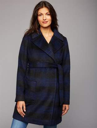 A Pea in the Pod Plaid Maternity Peacoat