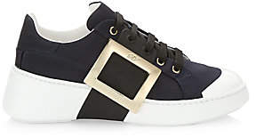 Roger Vivier Women's Viv Skate Buckle Leather Sneakers