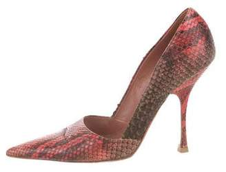 Alaia Snakeskin Pointed-Toe Pumps