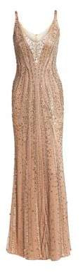 Jenny Packham Women's Beaded Tulle Sleeveless Gown - Gold - Size UK 14 (10)