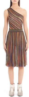 Missoni Metallic Stripe One-Shoulder Dress