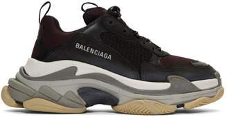 Balenciaga Black and Burgundy Triple S Sneakers