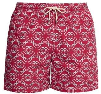 Le Sirenuse Le Sirenuse, Positano - Maze Patterned Swim Shorts - Mens - Red Multi