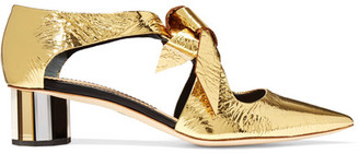 Proenza Schouler - Cutout Mirrored-leather Pumps - Gold $950 thestylecure.com