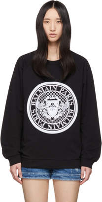 Balmain Black Flocked Coin Sweatshirt