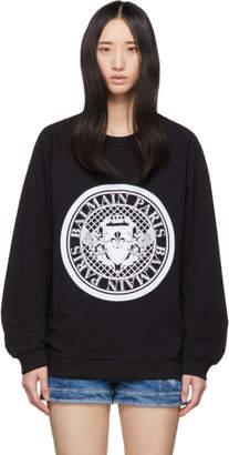 Balmain Black Flocked Coin Sweatshirt