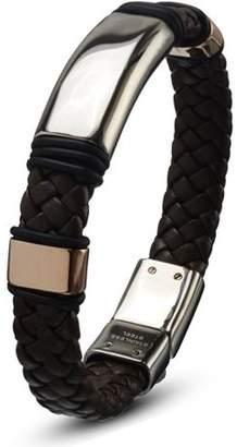 """STEEL ART Steel Art Men's Stainless Steel Brown Leather Braided Bracelet with Steel Buckle Closure, 8-1/2"""""""