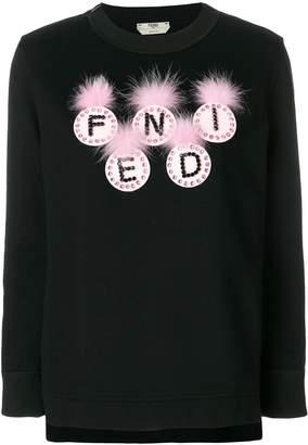 Fendi logo applique sweatshirt