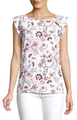 Lord & Taylor Petite Floral Printed Ruffle-Sleeve Top