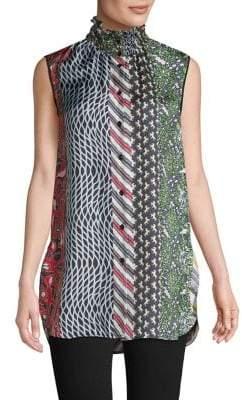Carven Printed Silk Sleeveless Blouse