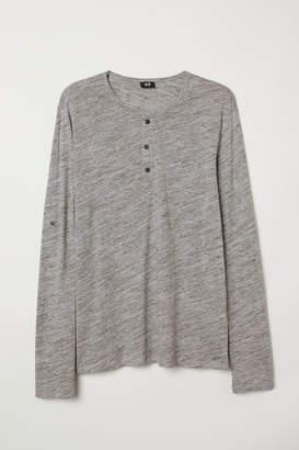 H&M Cotton Jersey Henley Shirt - Gray