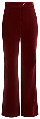 ALEXACHUNG High-rise wide-leg cotton-corduroy trousers