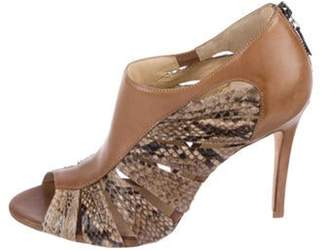 Alexandre Birman Snakeskin Trimmed Sandals Brown Snakeskin Trimmed Sandals
