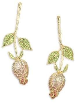 Kenneth Jay Lane Crystal and Peridot Flower Earrings