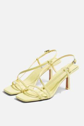 Topshop Womens Strippy Lime Heeled Sandals - Lime