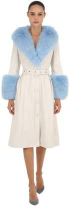 Foxy Leather Coat W/ Fox Fur