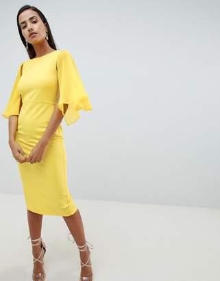 Asos Design DESIGN woven mix cape back pencil dress