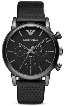 Giorgio Armani Emporio Quartz Chronograph Black Leather Watch, 43 mm