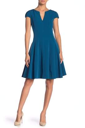 Julia Jordan Cap Sleeve Solid Fit & Flare Dress