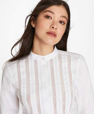 Brooks Brothers Lace-Trimmed Stretch Cotton Tunic