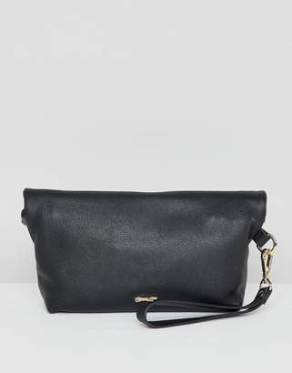Paul Costelloe real leather roll down clutch