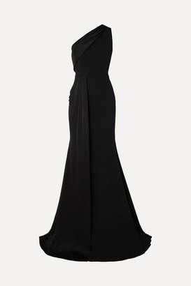 Alex Perry Hollis One-shoulder Draped Crepe And Satin Gown - Black