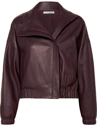 Vince Leather Bomber Jacket - Burgundy