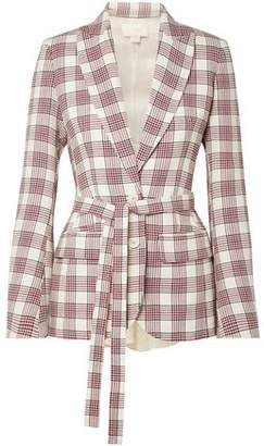 Antonio Berardi Organza-Paneled Checked Wool Blazer
