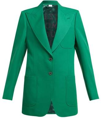 Gucci Single Breasted Wool Crepe Blazer - Womens - Green