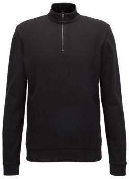 BOSS Hugo Cotton Birdseye Half-Zip Sweatshirt Sidney L Black