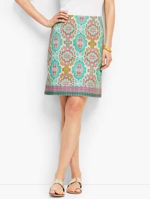 Talbots Moroccan Medallion Stretch Cotton Canvas Skirt