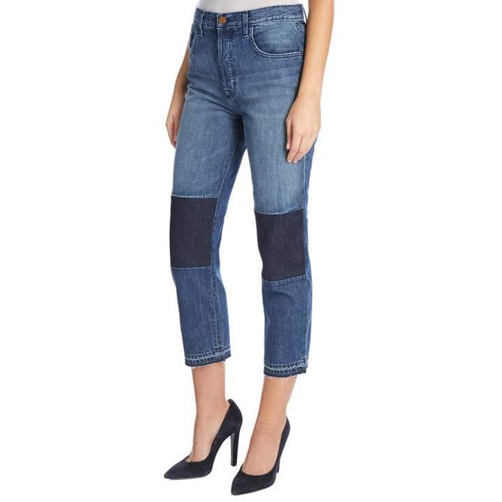 Blue Patched Wynne Cropped Stretch Straight Jeans