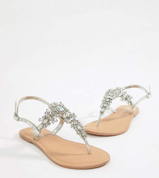 Asos DESIGN Fairlight Leather Extra Wide Fit Embellished Flat Sandals