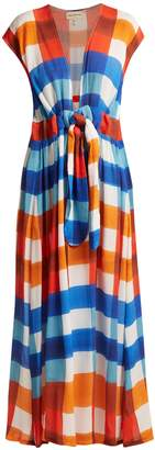 Mara Hoffman Katinka gingham tie-waist crinkled-crepe dress