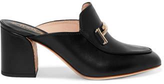 Tod's Embellished Leather Mules - Black