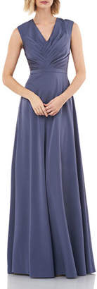 Kay Unger New York V-Neck Sleeveless Stretch Faille Gown with Pleated Bodice
