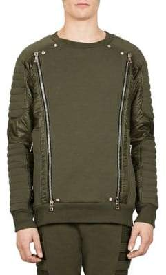 Balmain Zip Panel Quilted Cotton Sweatshirt