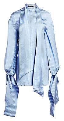 Rokh Women's Pussybow Stripe Slit Back Blouse