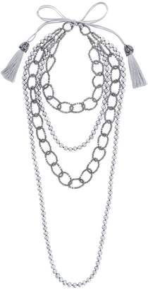 Night Market faux pearl and bead layered necklace