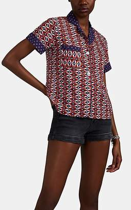 Warm Women's Camp Ikat-Inspired Cotton Voile Blouse