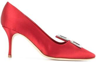 Manolo Blahnik double buckle pumps