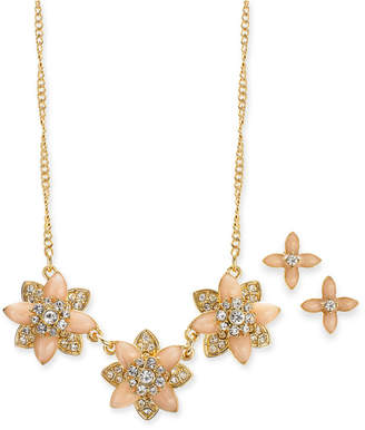 """Charter Club Gold-Tone Crystal and Stone Flower Collar Necklace & Stud Earrings Set, 17"""" + 2"""" extender, Created for Macy's"""